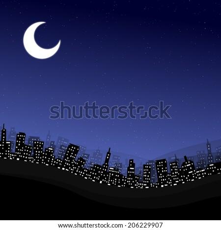 Cartoon earth city at night - stock photo