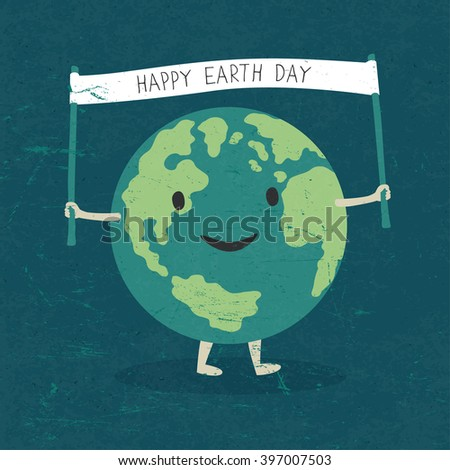 "Cartoon Earth Illustration. Planet smile and hold banner with ""Happy Earth Day"" words. On old paper texture.  - stock photo"