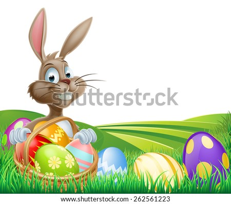 Cartoon Easter Bunny with a hamper of chocolate Easter eggs in a field with rolling hills - stock photo