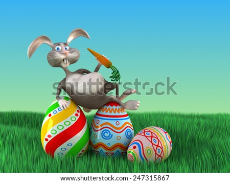 Cartoon Easter rabbit  lays on eggs in a park. Funny 3d illustration - stock photo