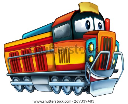 Cartoon electric train - caricature - illustration for the children - stock photo