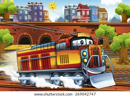 Cartoon electric train - train station - illustration for the children - stock photo