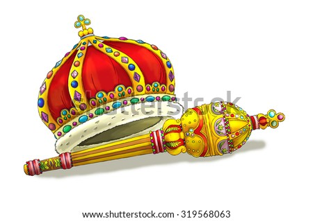 Cartoon elements - crown and scepter - illustration for the children - stock photo
