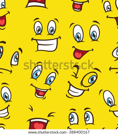 cartoon face seamless background - stock photo