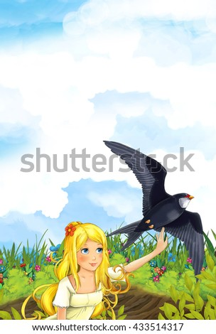 Cartoon fairy tale scene with a young little girl on the meadow waving to the cuckoo bird - illustration for children - stock photo