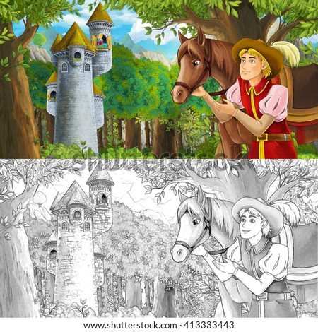 Cartoon fairy tale scene with prince encountering hidden tower - with coloring page -  illustration for children - stock photo