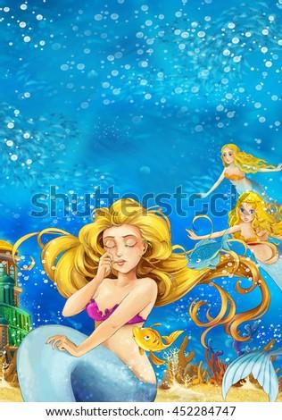 Cartoon fantasy scene on underwater kingdom - beautiful manga girl - mermaid friends - illustration for children - stock photo