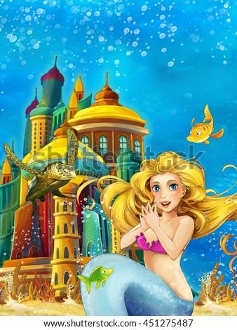 Cartoon fantasy scene on underwater kingdom - beautiful manga girl - mermaid - illustration for children - stock photo