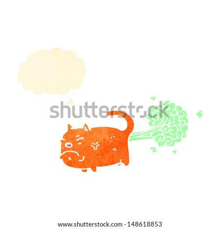 cartoon farting cat - stock photo