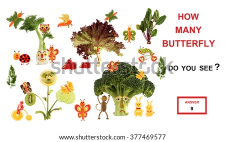 Cartoon figures of vegetables and fruits, as an illustration of mathematical education for children of preschool age. - stock photo
