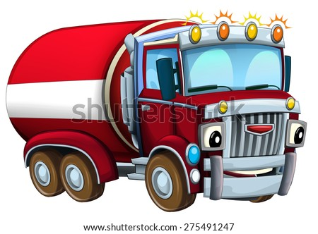Cartoon firetruck - caricatures - illustration for the children - stock photo