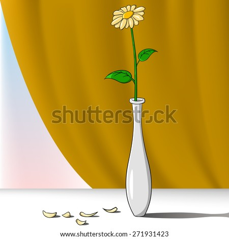 Cartoon flower in vase with brown curtain on background - stock photo
