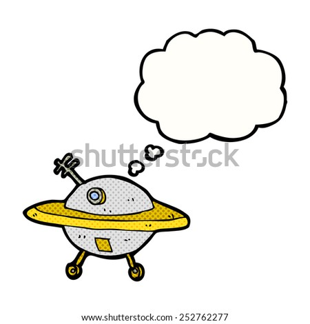 cartoon flying saucer with thought bubble - stock photo