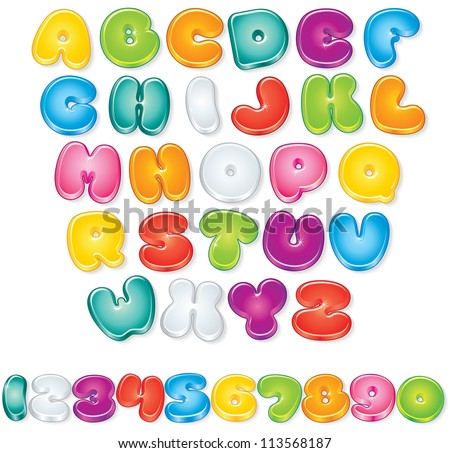 Cartoon Font. Set of Isolated Letters and Numbers for your Design - stock photo