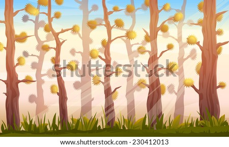 Cartoon forest game background landscape in autumn with fantastic trees, sun lights and green grass - stock photo