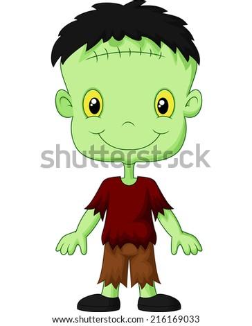 Cartoon Frankenstein kid - stock photo