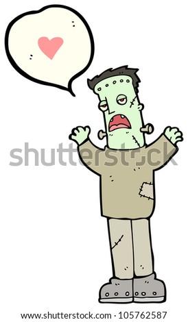 cartoon frankenstein monster in love - stock photo