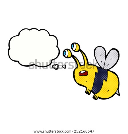 cartoon frightened bee with thought bubble - stock photo