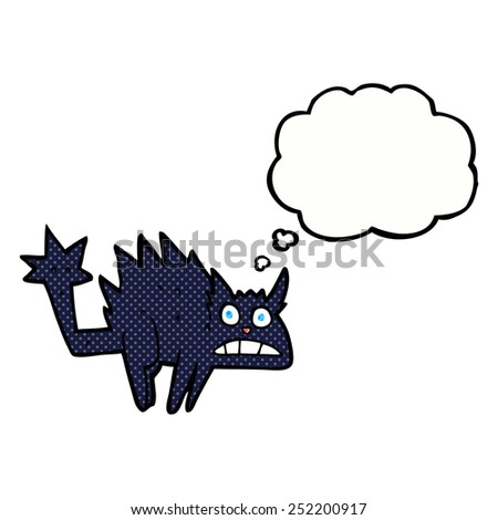 cartoon frightened black cat with thought bubble - stock photo