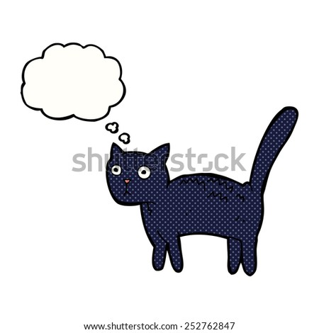 cartoon frightened cat with thought bubble - stock photo