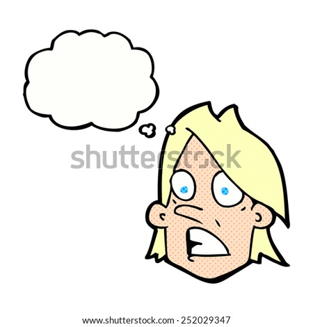 cartoon frightened face with thought bubble - stock photo