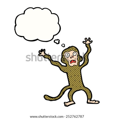 cartoon frightened monkey with thought bubble - stock photo