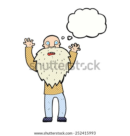 cartoon frightened old man with beard with thought bubble - stock photo