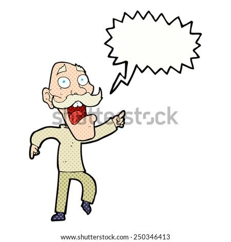 cartoon frightened old man with speech bubble - stock photo