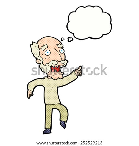 cartoon frightened old man with thought bubble - stock photo