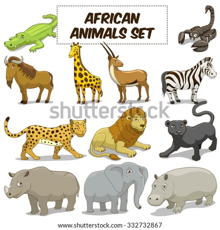 Cartoon funny african savannah animals colorful set raster illustration - stock photo