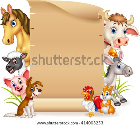 Cartoon funny farm animals with blank sign - stock photo