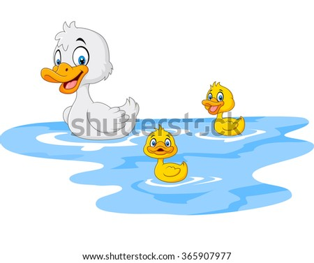 Cartoon funny mother duck with baby duck floats on water - stock photo
