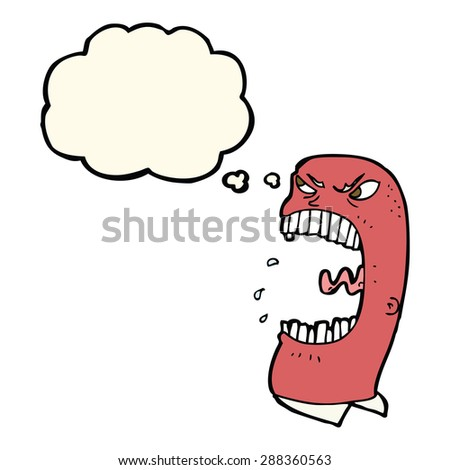 cartoon furious man shouting with thought bubble - stock photo