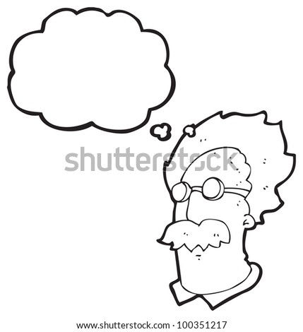 cartoon genius scientist head - stock photo