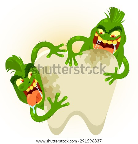cartoon germs destroying a tooth - stock photo