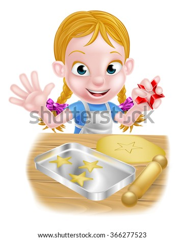 Cartoon girl baking cakes and cookies