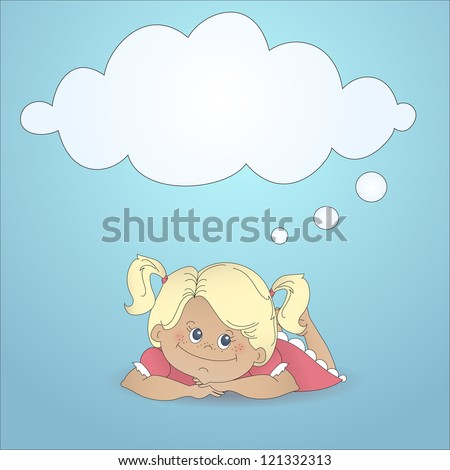 Cartoon girl dreaming with a thought bubble made of clouds. Color abstract illustration with stylized personage and text box in cartoon style. - stock photo