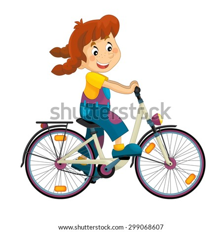 Cartoon girl on the bicycle - illustration for the children - stock photo