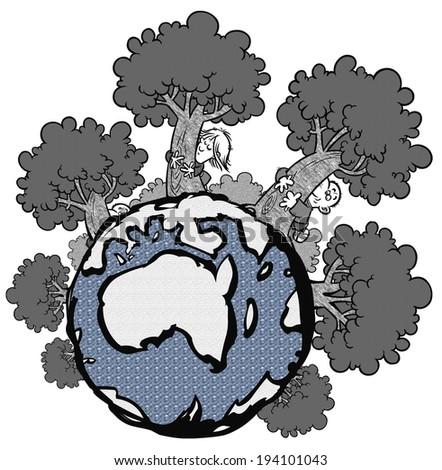 Tree Hugger Stock Illustrations & Cartoons | Shutterstock