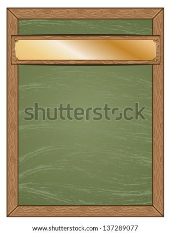 Cartoon green chalkboard with wooden frame and golden table background. - stock photo