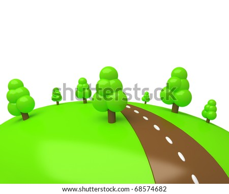 cartoon green meadow with some trees and chocolate road isolated on white - stock photo