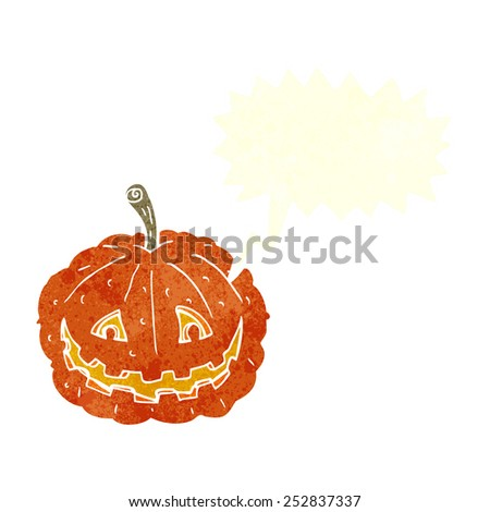 cartoon grinning pumpkin with speech bubble - stock photo