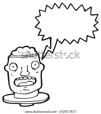 cartoon gross exposed brain head - stock photo
