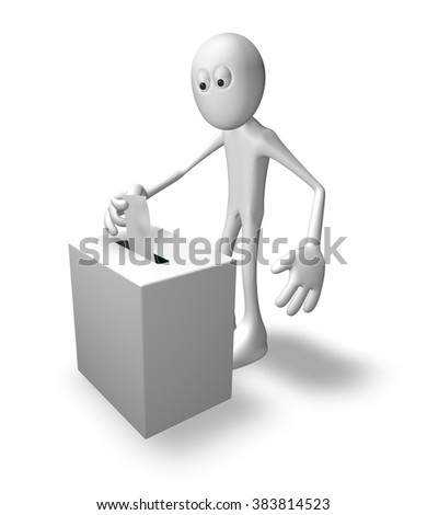 cartoon guy and vote box - 3d illustration - stock photo