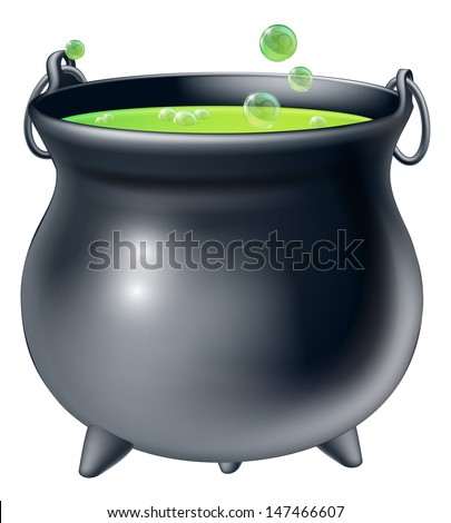 Cartoon Halloween witch's cauldron with green bubbling witch's brew in it - stock photo