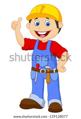 Cartoon handyman with tools belt thumb up - stock photo