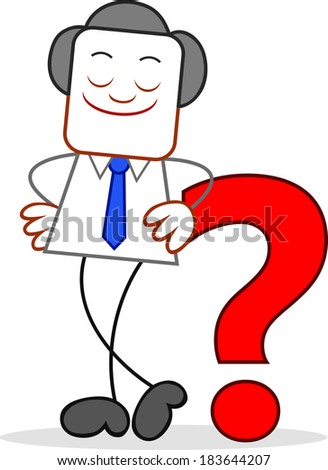 Cartoon happy businessman standing and with an question mark. - stock photo