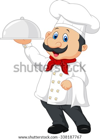 Cartoon happy chef with a moustache holding a silver platter  - stock photo