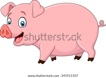 Cartoon happy pig isolated on white background - stock photo