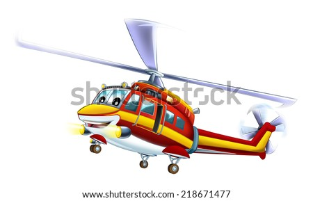 Cartoon helicopter - illustration for the children - stock photo